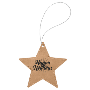 Light Brown Leatherette Star Ornament with Silver String (double-sided)