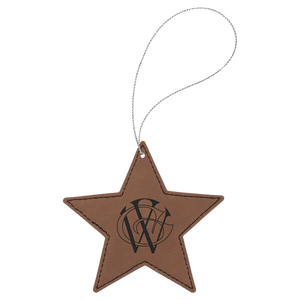 Dark Brown Leatherette Star Ornament with Silver String (double-sided)