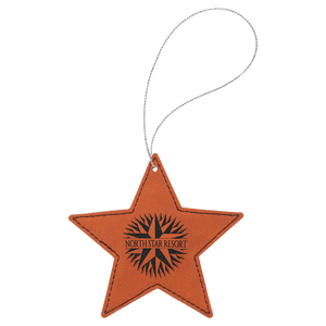 Rawhide Leatherette Star Ornament with Silver String (double-sided)
