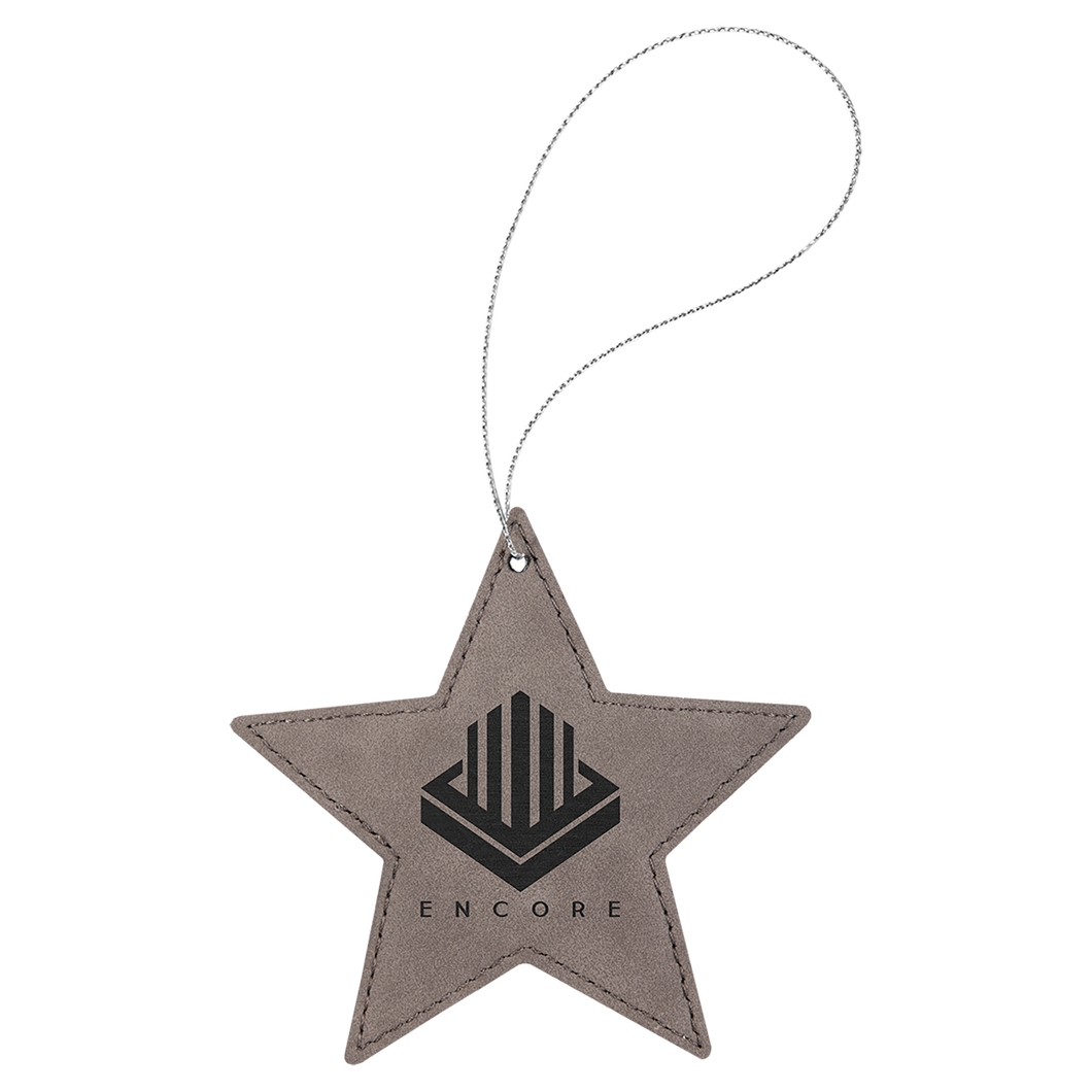 Gray Leatherette Star Ornament with Silver String (double-sided)