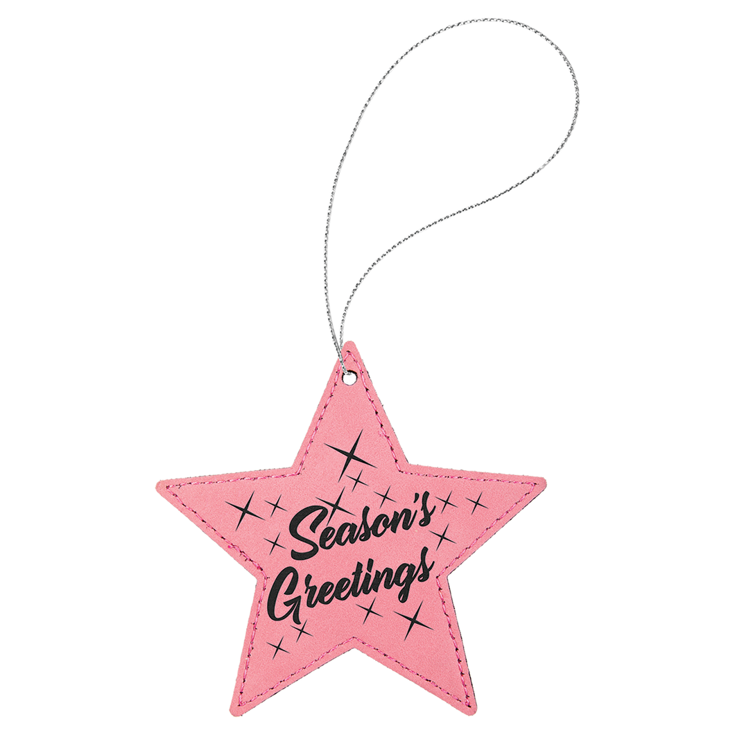 Pink Leatherette Star Ornament with Silver String (double-sided)
