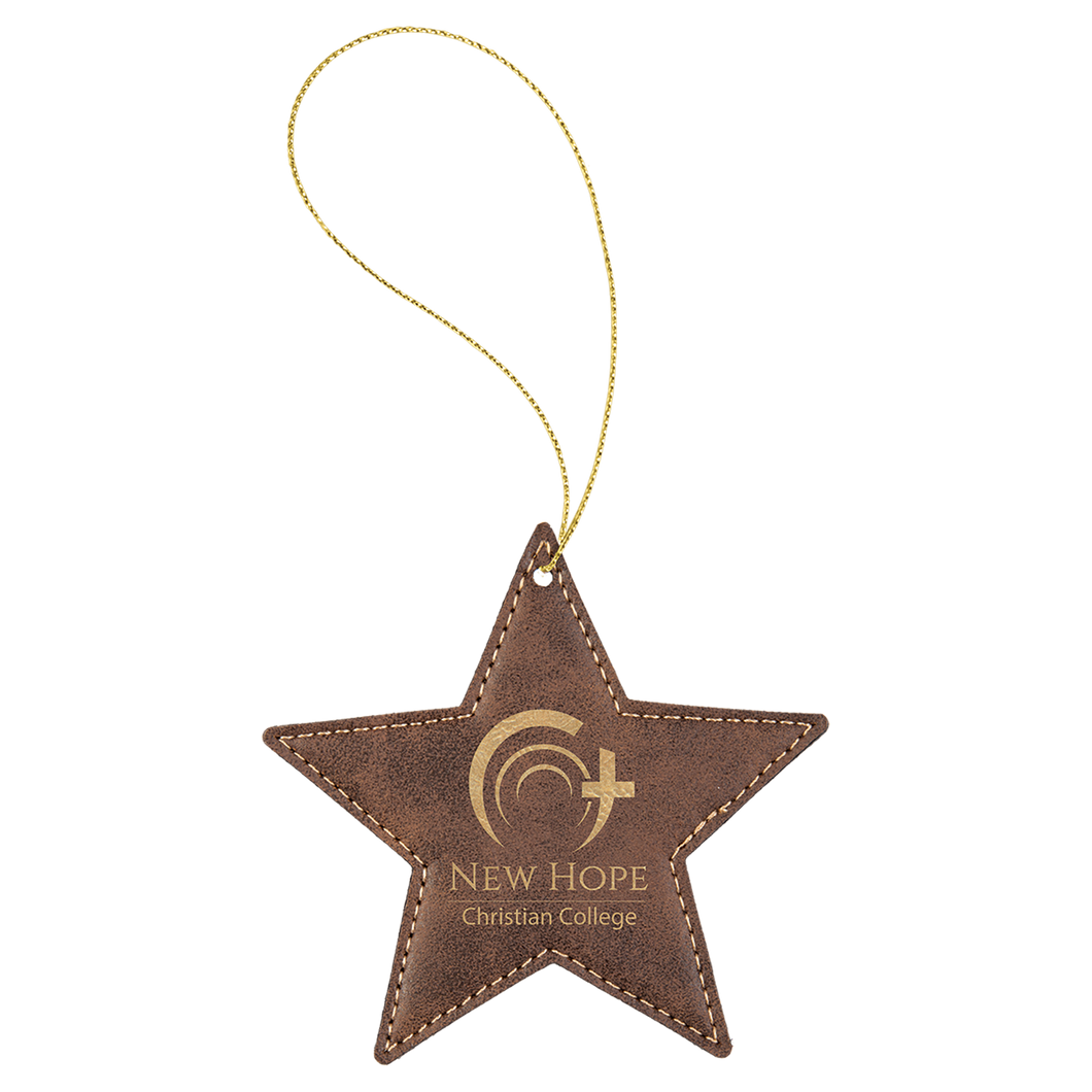 Rustic & Gold Leatherette Star Ornament with Gold String (double-sided)