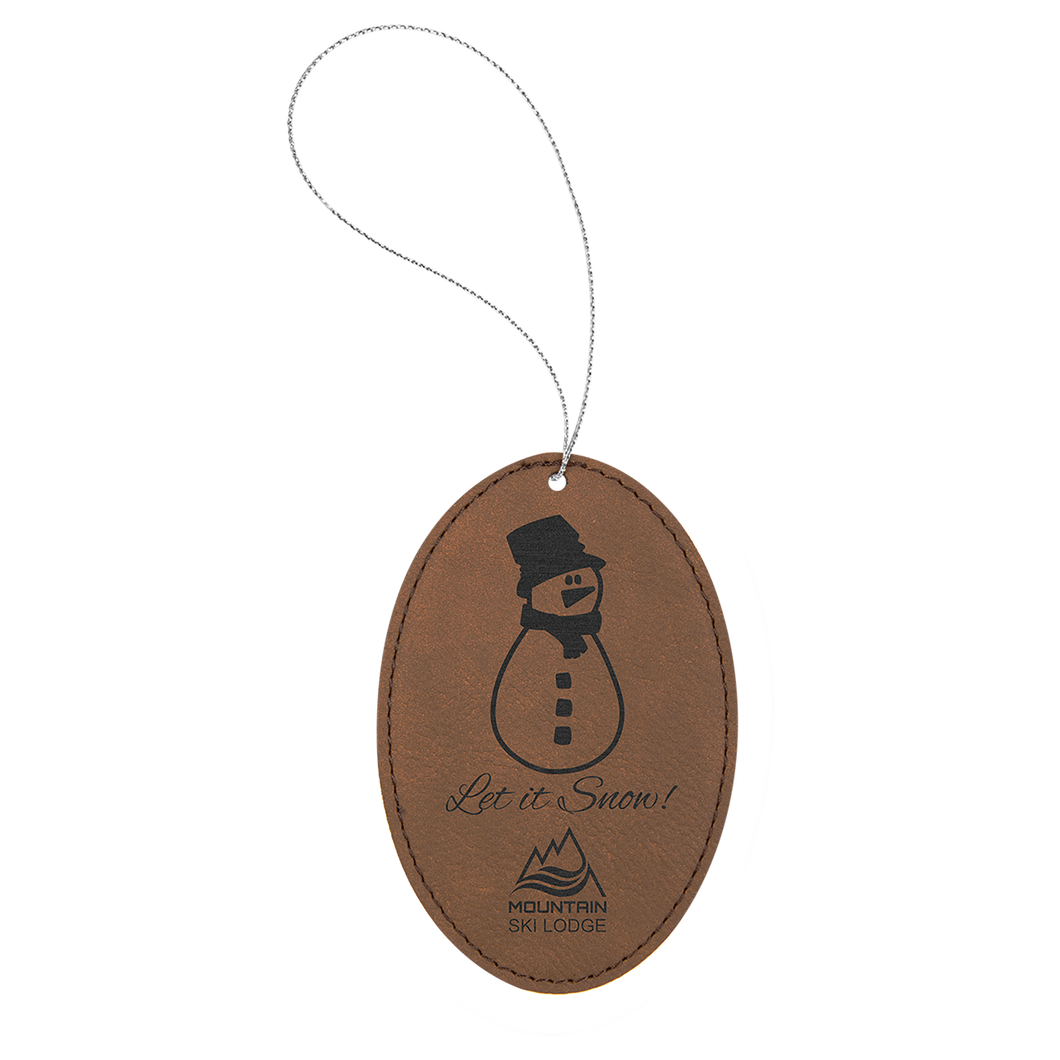 Dark Brown Leatherette Oval Ornament with Silver String (double-sided)