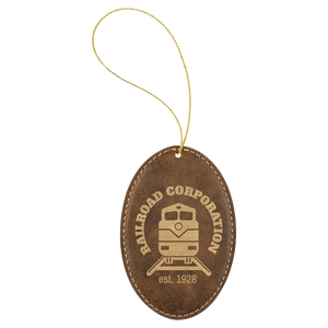 Rustic & Gold Leatherette Oval Ornament with Gold String (double-sided)