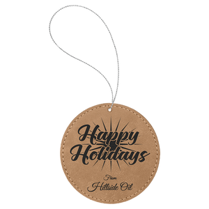 Light Brown Leatherette Round Ornament with Silver String (double-sided)