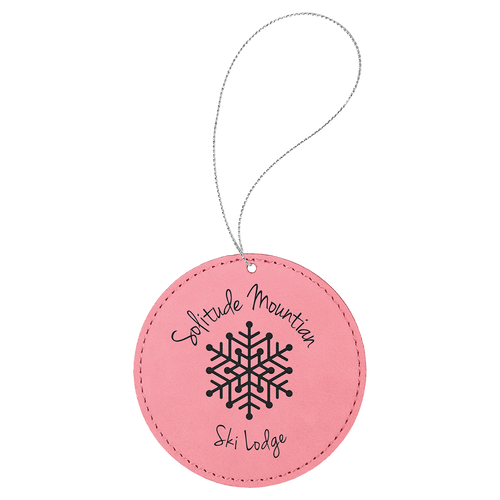 Pink Leatherette Round Ornament with Silver String (double-sided)