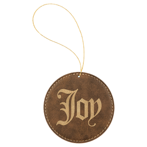 Rustic & Gold Leatherette Round Ornament with Gold String (double-sided)