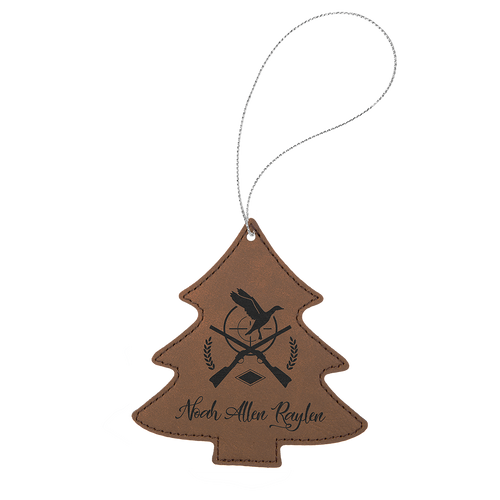 Dark Brown Leatherette Tree Ornament with Silver String (double-sided)