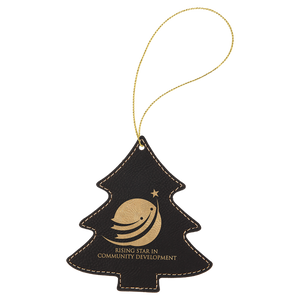 Black & Gold Leatherette Tree Ornament with Gold String (double-sided)
