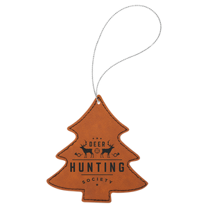 Rawhide Leatherette Tree Ornament with Silver String (double-sided)