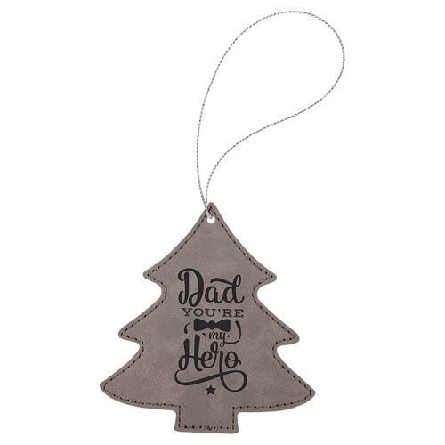Gray Leatherette Tree Ornament with Silver String (double-sided)