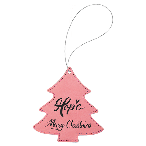 Pink Leatherette Tree Ornament with Silver String (double-sided)