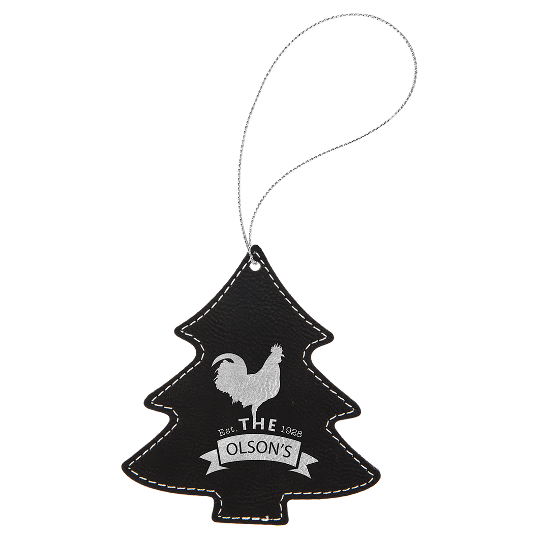 Black & Silver Leatherette Tree Ornament with Silver String (double-sided)