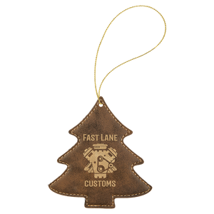 Rustic & Gold Leatherette Tree Ornament with Gold String (double-sided)