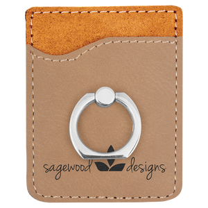 Light Brown Leatherette Cell Phone Wallet with Silver Ring