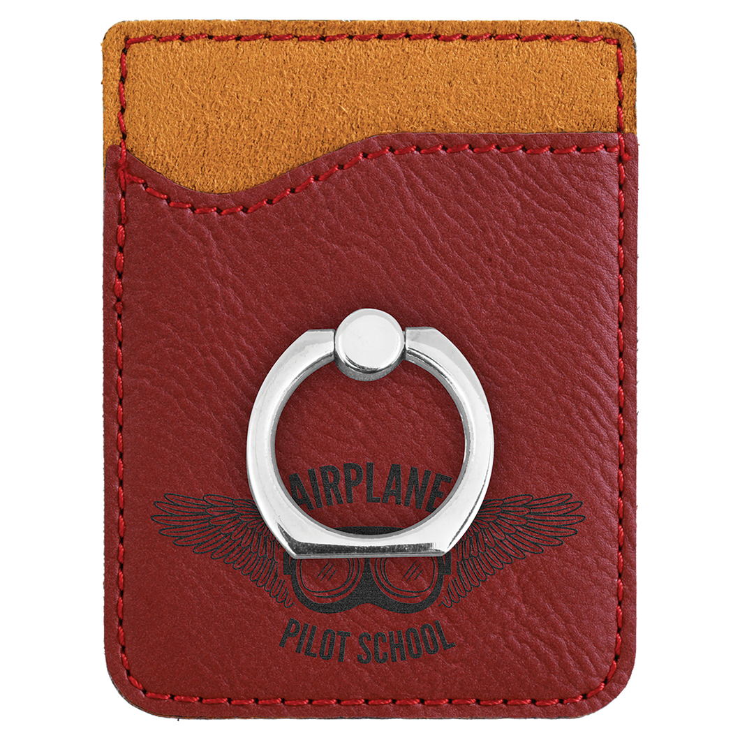 Rose Leatherette Cell Phone Wallet with Silver Ring