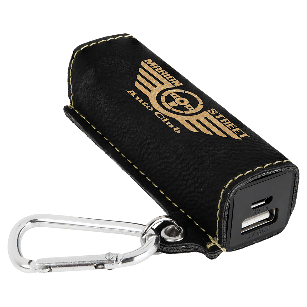 Black & Gold Leatherette 200 mAh Power Bank with USB Cord