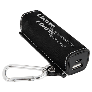 Black & Silver Leatherette 200 mAh Power Bank with USB Cord
