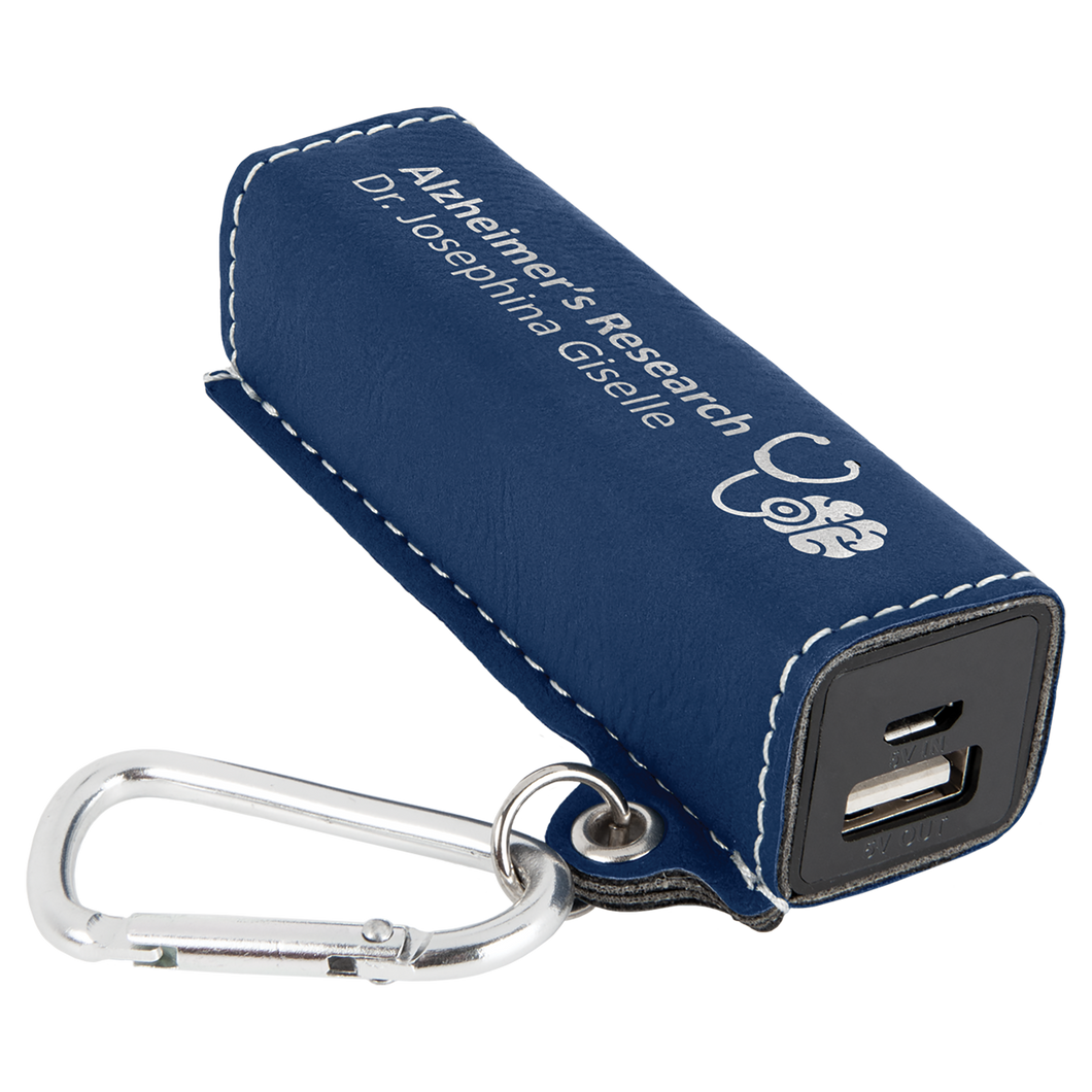 Blue & Silver Leatherette 200 mAh Power Bank with USB Cord