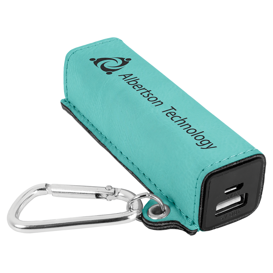 Teal Leatherette 200 mAh Power Bank with USB Cord