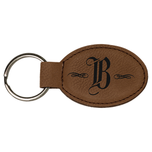 Dark Brown Leatherette Oval Keychain