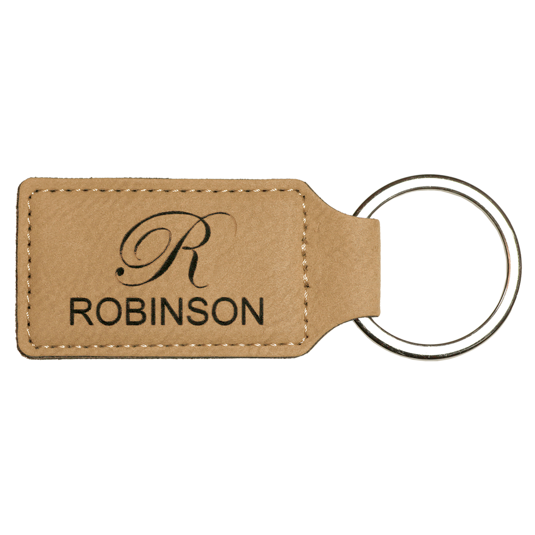 Light Brown Leatherette Rectangle Keychain