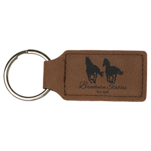 Dark Brown Leatherette Rectangle Keychain