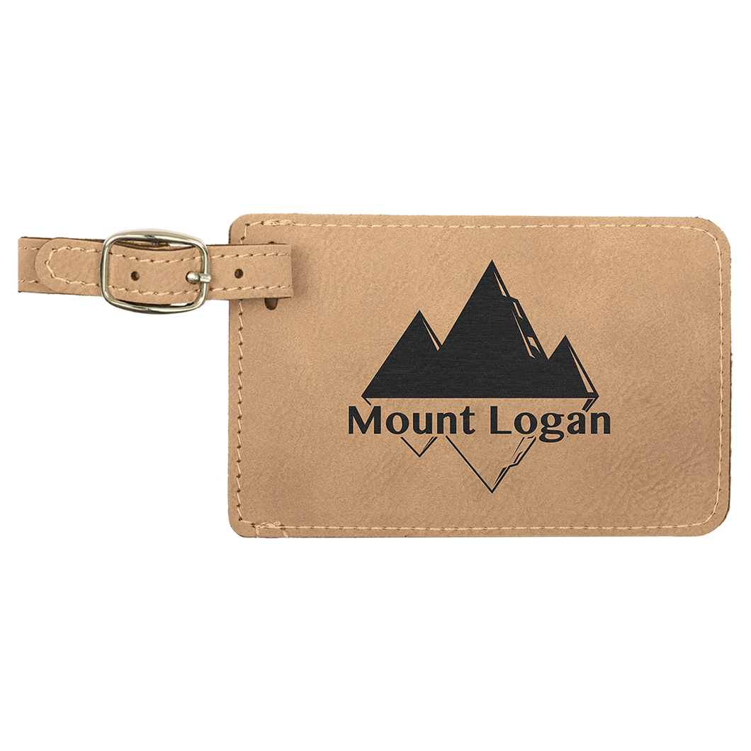 Light Brown Leatherette Luggage Tag