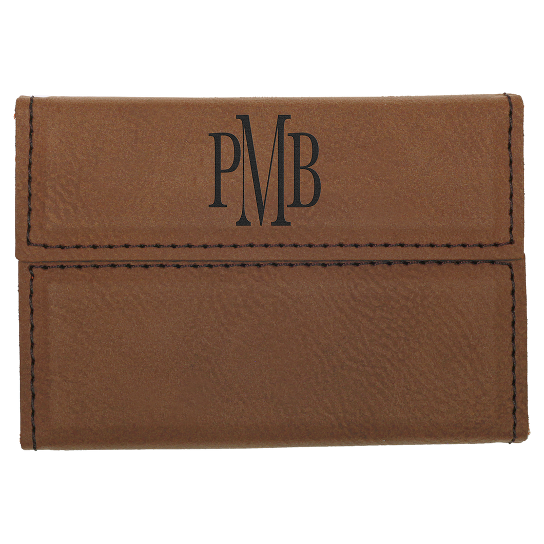 Dark Brown Leatherette Hard Card Case with Magnetic Closure