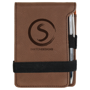 Dark Brown Leatherette Mini Pad with Pen