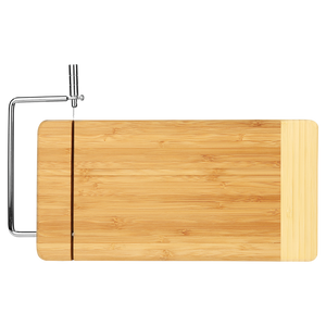 Bamboo Two-Tone Cutting Board with Metal Cheese Cutter
