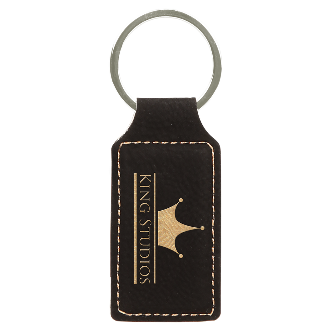 Black & Gold Leatherette Rectangle Keychain