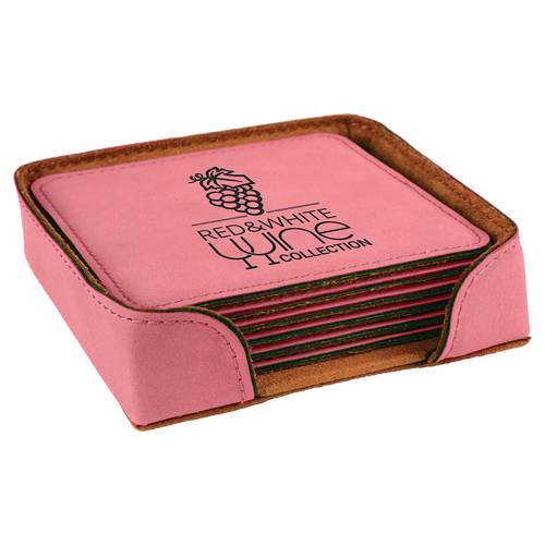 Square Pink Leatherette 6-Coaster Set