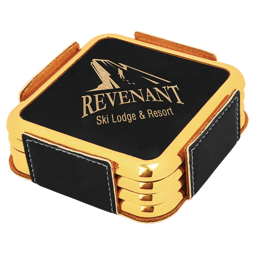 Square Black & Gold Leatherette with Gold Edge 4-Coaster Set
