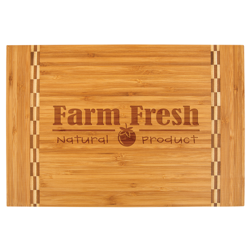 Medium Bamboo Cutting Board with Butcher Block Inlay
