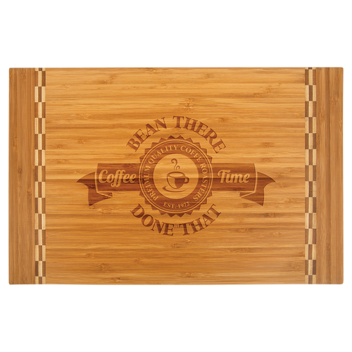 Large Bamboo Cutting Board with Butcher Block Inlay