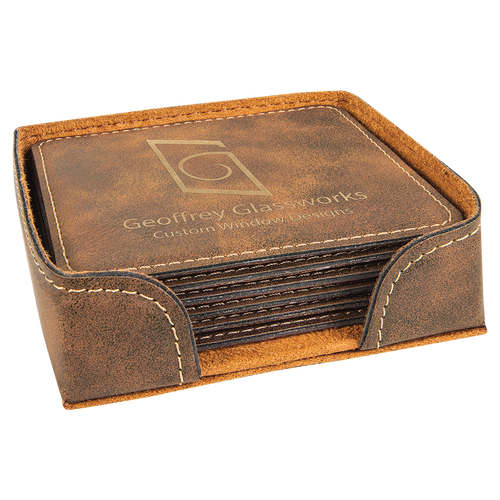 Square Rustic & Gold Leatherette 6-Coaster Set