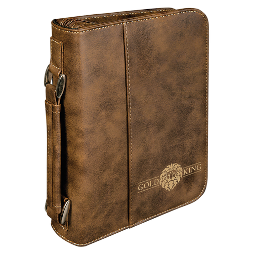 Rustic & Gold Leatherette Book/Bible Cover with Handle & Zipper