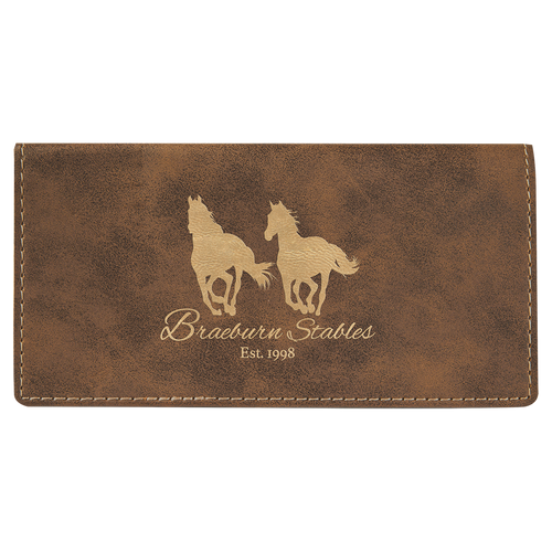 Rustic & Gold Leatherette Checkbook Cover