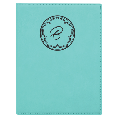 Small Teal Leatherette Portfolio with Notepad