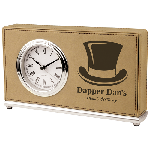 Light Brown Leatherette Horizontal Clock