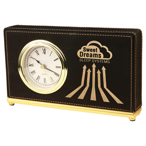 Black & Gold Leatherette Horizontal Clock