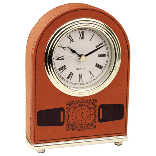 Rawhide Leatherette Arch Clock