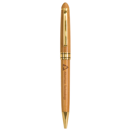 Bamboo Ballpoint Pen with Gold Trim