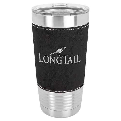 20 oz. Black & Silver Leatherette Wrapped Polar Camel with Clear Lid