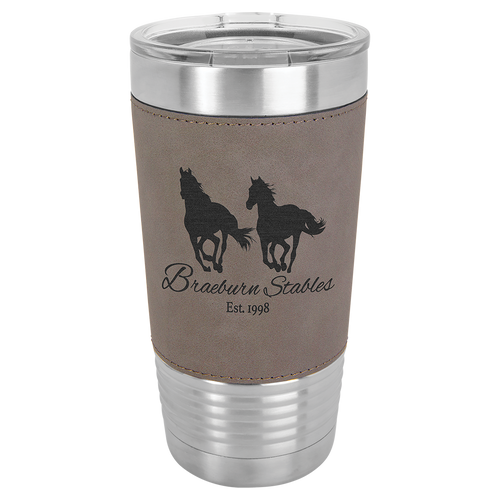 20 oz. Gray Leatherette Wrapped Polar Camel with Clear Lid