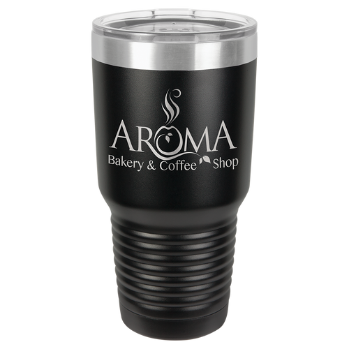 30 oz. Black Polar Camel Ringneck Insulated Tumbler with Clear Lid & Silver Ring
