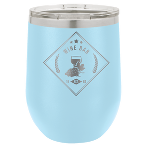 12 oz. Light Blue Polar Camel Insulated Stemless Tumbler with Clear Lid
