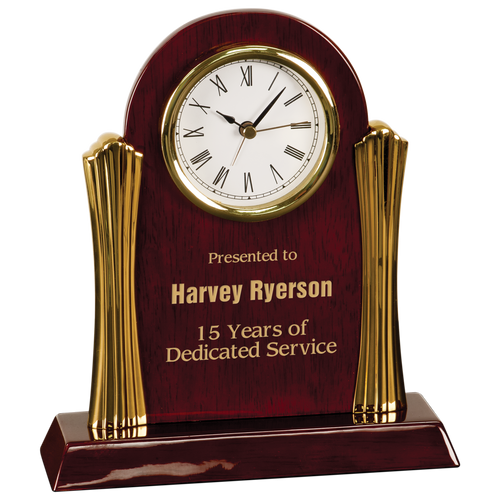 Rosewood Piano Finish Desk Clock with Gold Metal Columns