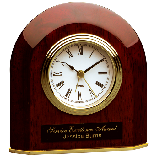 Rosewood Piano Finish Beveled Arch Desk Clock